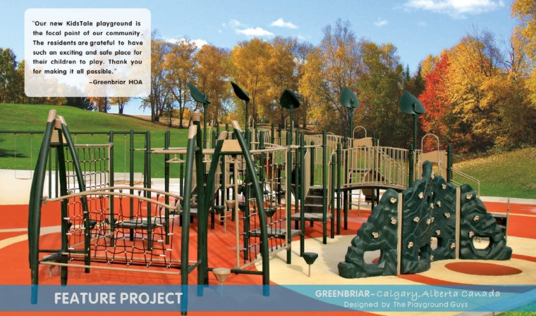 The new KidsTale playground is the focal point of the Greenbriar Homeowners community in Calgary, Alberta. The residents are grateful to have such an exciting and safe place for their children to play.